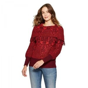 Knox Rose Burgundy / Red Fringed Cowl Neck Sweater